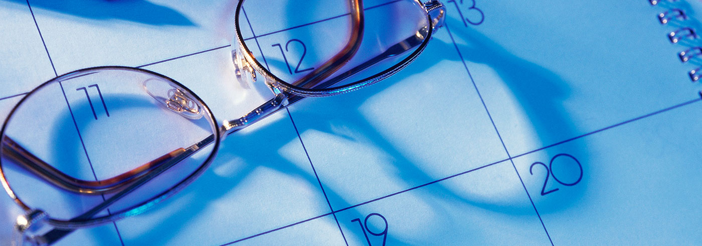 Glasses on calendar